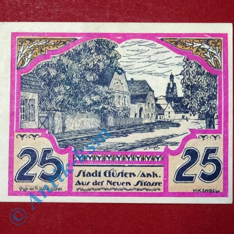 Top Notgeld Güsten 25 Pf Schein Nr 3, german emergency Money, M/G 494.1 kfr/unc
