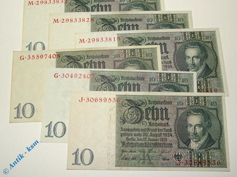 1 x Reichsbanknote über 10 Mark , K / G,J,H,M , Deu-183b , Thaer ,von 1929 , kfr