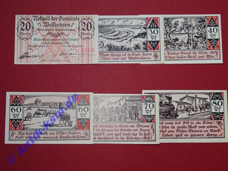 6 x Notgeld Westerhorn , emergency Money alle 8 Scheine komplett , kfr -selten-