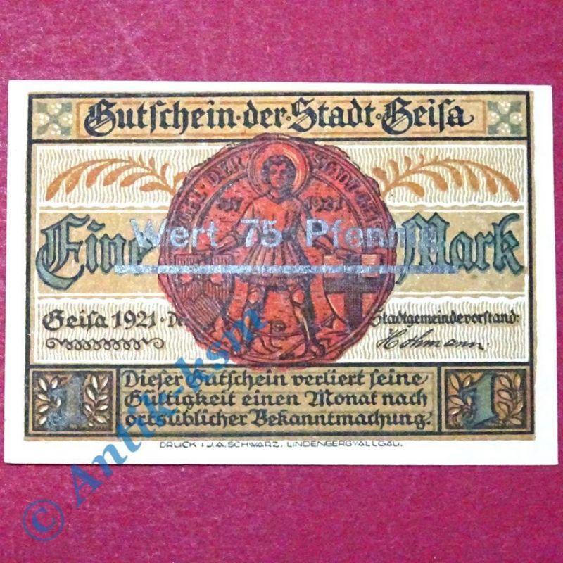 Notgeld Geisa i.d. Röhn , Schein über 1 Mark Überdruck , M/G 413.2 A , kfr/unc