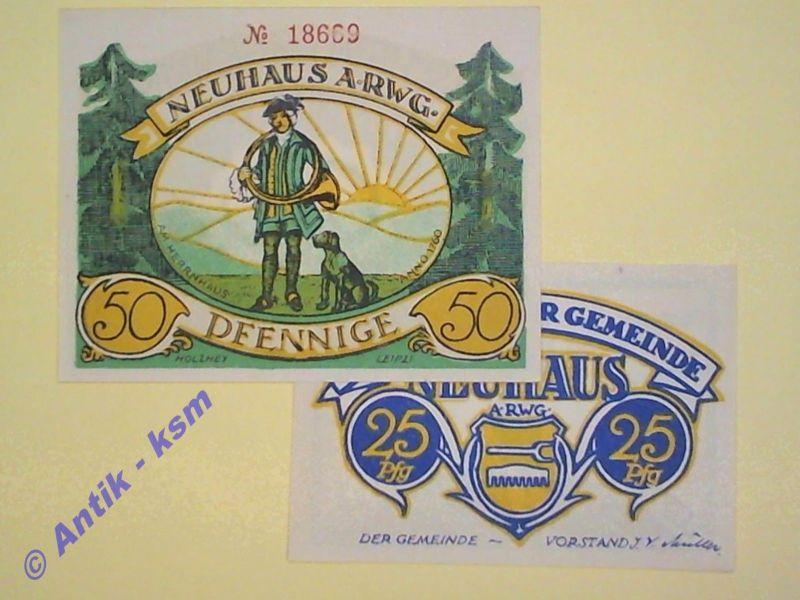 B  2 x Top Notgeld Neuhaus , mit 50 Pfennig Leipzi , emergency Money, kfr/unc