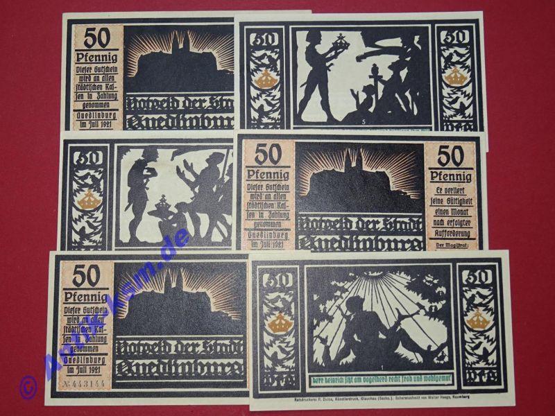 A 6 x Notgeld Quedlinburg - Orange - emergency Money, komplett , kfr -- selten -