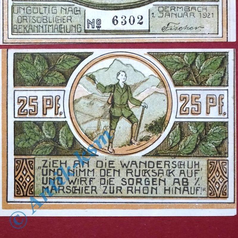 Notgeld Dermbach , 25 Pfennig Schein , Kn gestempelt , M/G 264.1 B , kfr/unc