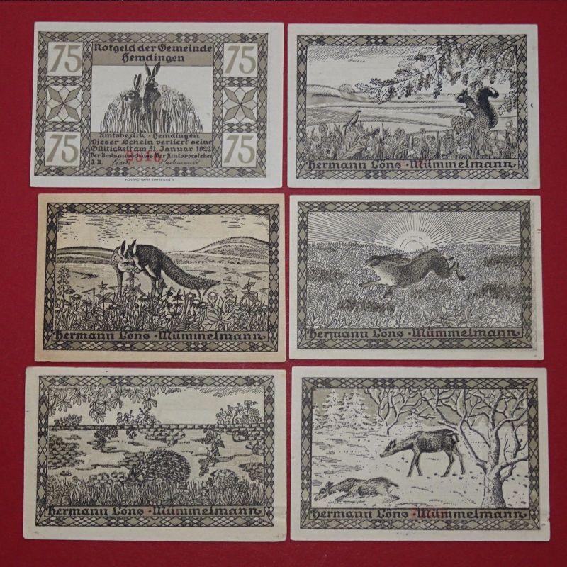 6 x Notgeld Hemdingen , komplett , german emergency money , kfr./unc