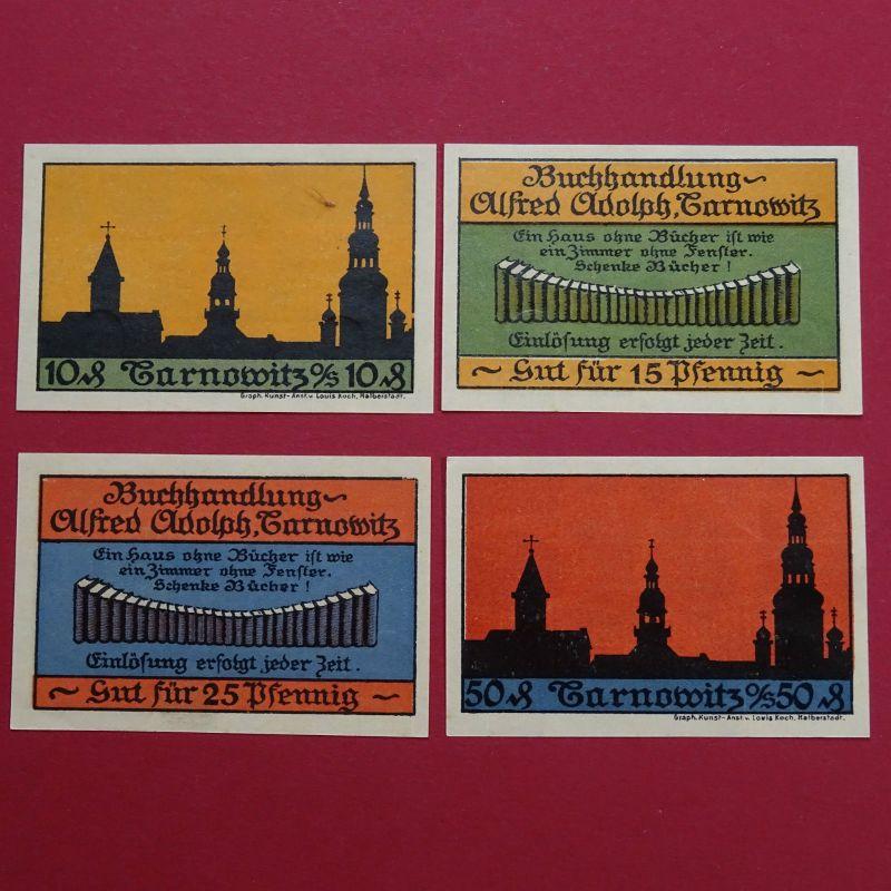4 x Top Notgeld Tarnowitz , Alfred Adolph Buchhandlung , M/G 1311.1 in  kfr /unc
