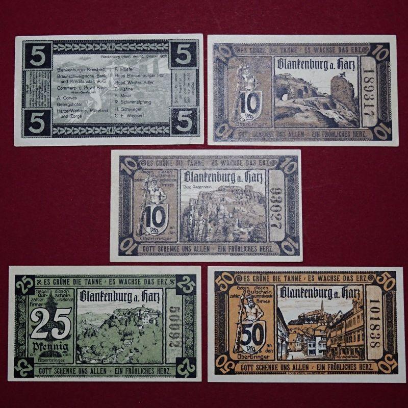 5 x Notgeld Blankenburg a. Harz, 5 x german emergency Money, M/G 114.1 , kfr/unc