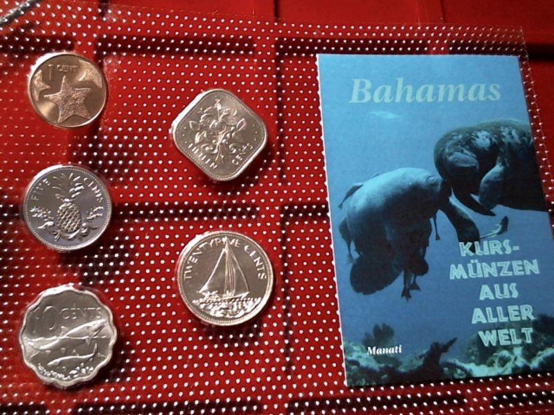 Kursmünzensatz (KMS)  Bahamas , von 1992 - 2007 in stgl.im Noppenfolien Blister