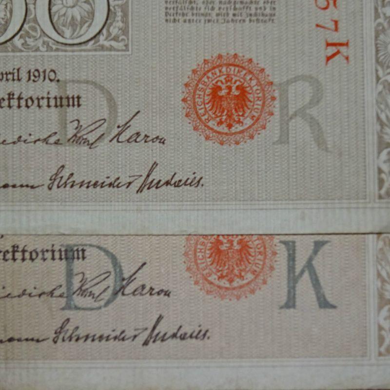 A Reichsbanknote über 1000 Mark von 1910 --- dunkelgrauer Unterdruck Ros. 45 d ?