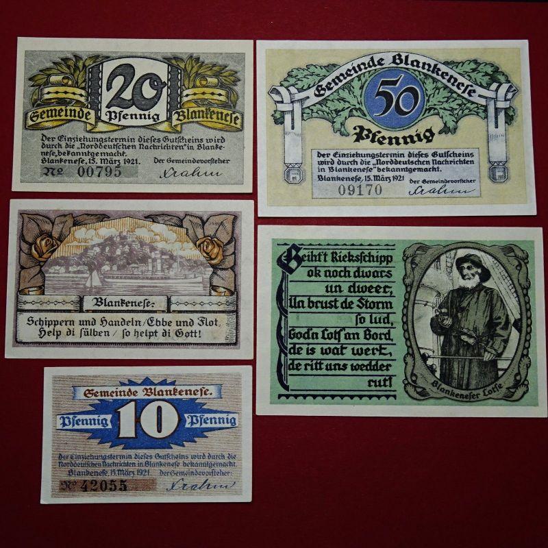 5 x Notgeld der Gemeindesparkasse Blankenese , emergency Money M/G 115 kfr/unc