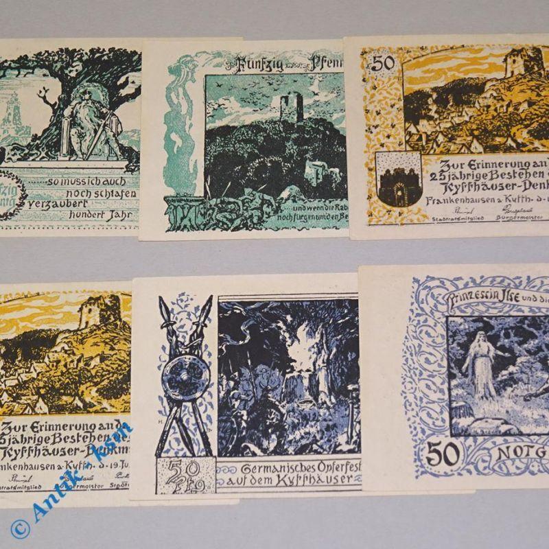 6 x Notgeld Frankenhausen ,Mitte Bürgermeister , emergency money M/G 373.1 a kfr