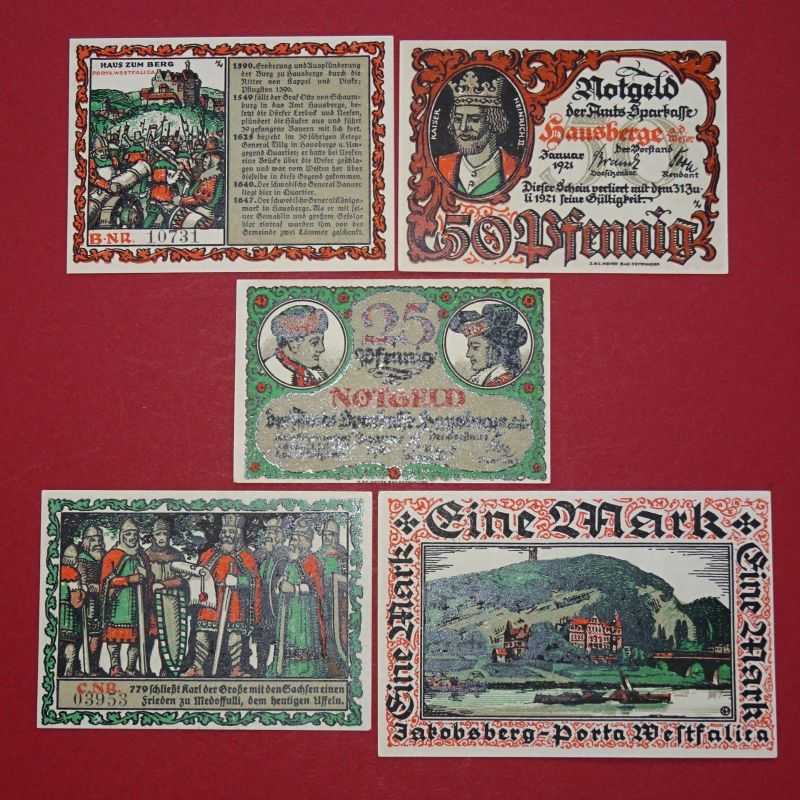 5 x Notgeld Hausberge a. Weser , german emergency money , M/G 585.1 , kfr/unc