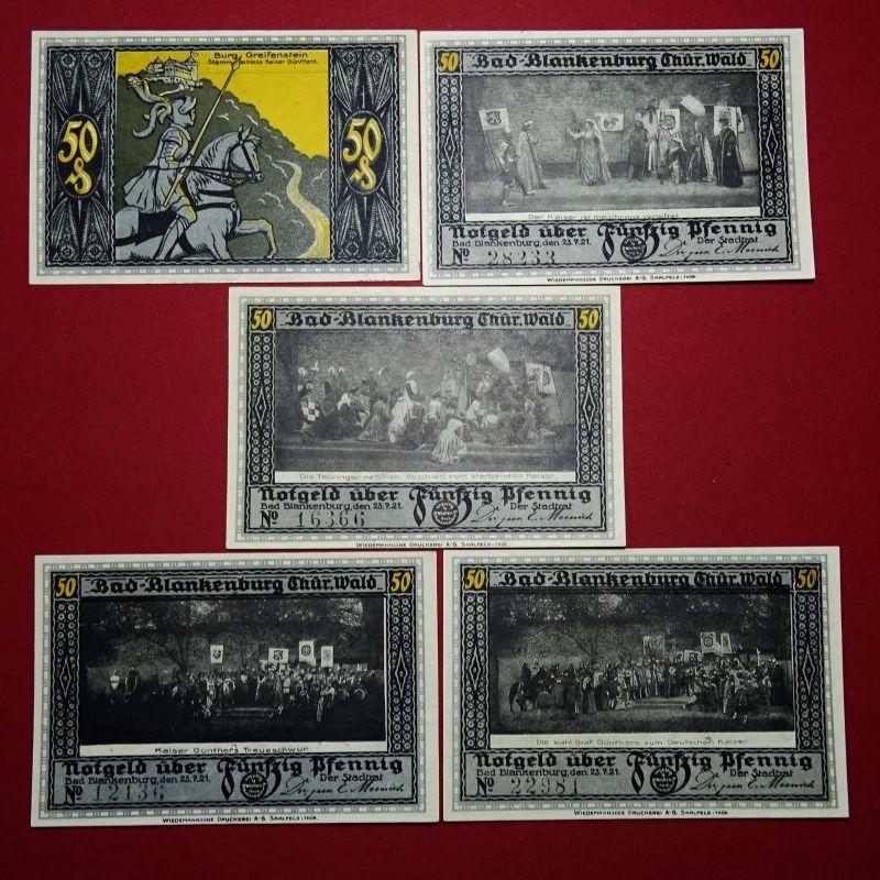 5 x Notgeld Bad Blankenburg , 5 x german emergency Money , M/G 113.1 , kfr/unc