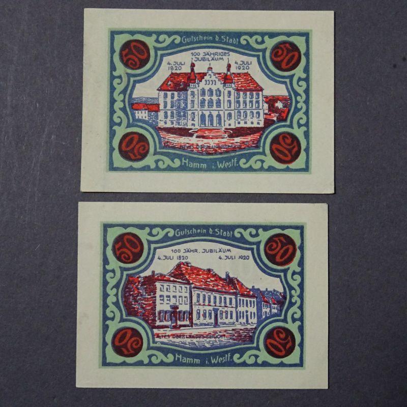 A 2 x Top Notgeld Stadt HAMM 7 : 2 x 50 Pfennig -- breiter Rand  .+ kfr -selten-