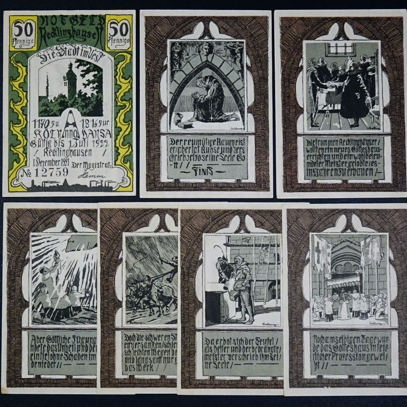 7 x Notgeld Recklinghausen, german emergency money , M/G 1103.1 , kfr / unc