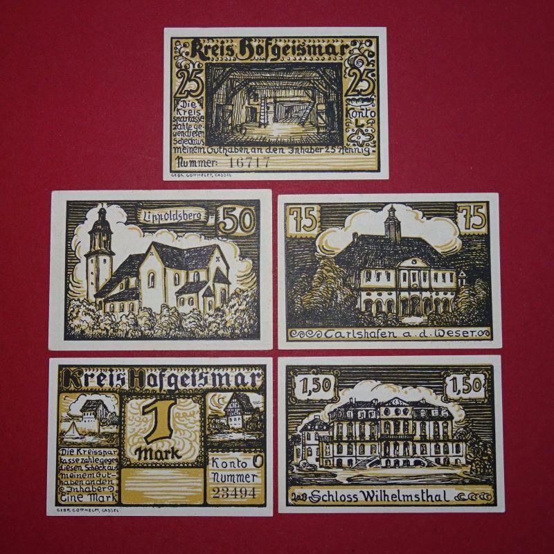 5 x Notgeld Hofgeismar , Gebäudeserie , emergency money , M/G 619.3 , kfr./unc