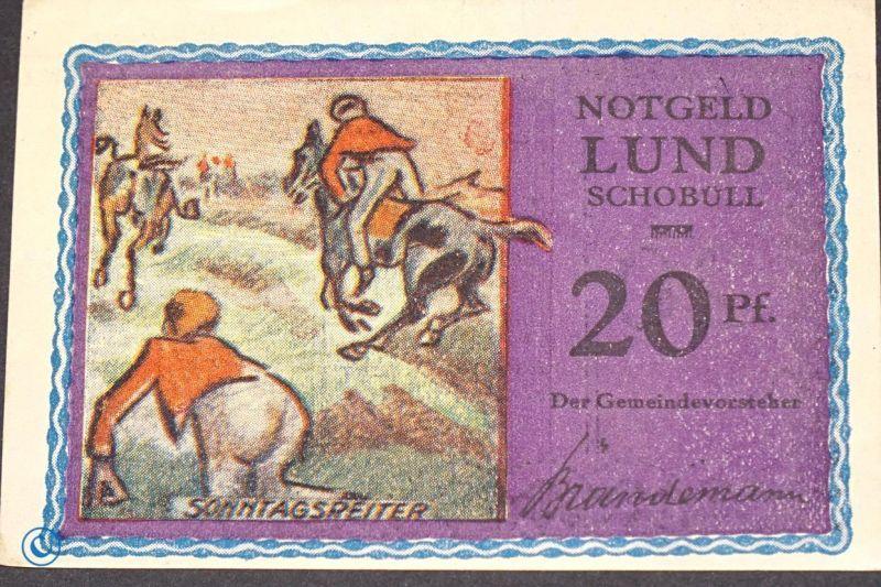 Notgeld Lund und Schobüll, 20 Pfennig Schein , altrosa , Mehl Grabowski 844.1 b