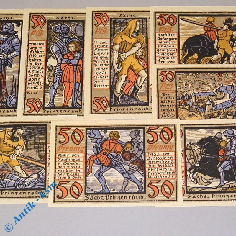 8 x Notgeld Altenburg , Prinzenraubserie , 2 Unterschriften , M/G 26.1 b kfr/unc
