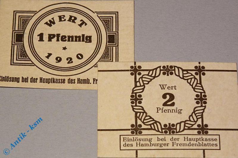2 x Notgeld Hamburg , Fremdenblatt , 1 & 2 Pfennig , Tieste 2765.150.01 & 02 kfr