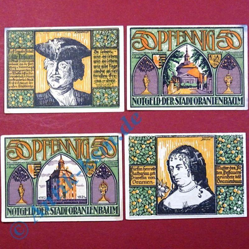 4 x Notgeld Oranienbaum 50 Pf. german emergency money , M/G 1024.1 ,  kfr./unc