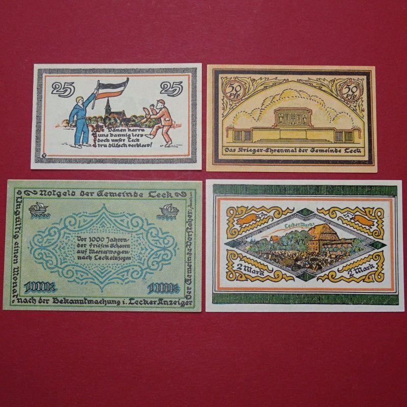 4 x Notgeld Leck , german emergency Money, Satz mit 4 Scheinen kfr./unc