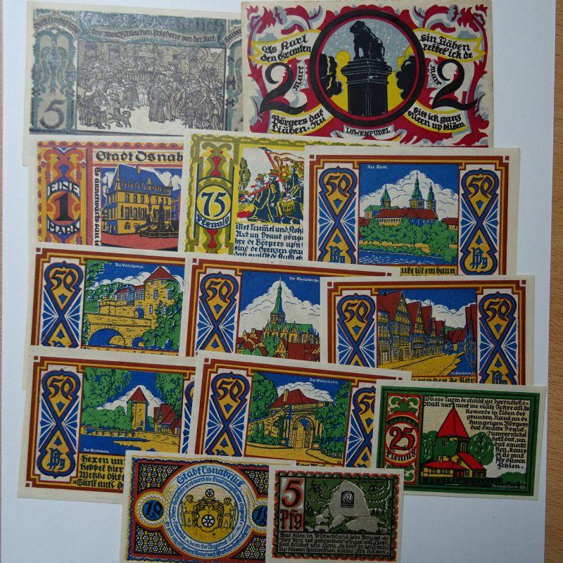 13 x Top Notgeld Stadt Osnabrück, 5 Pfennig bis 5 Mark , M/G 1032.1 ,  kfr/unc