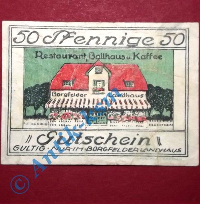 Seltener Notgeld Bremen Borgfelder Landhaus , german emergency money , M/G 161.1