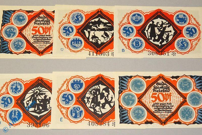 6 x Notgeld Bielefeld , Rübchen , german emergency money , M/G 103.5 ,  kfr./unc