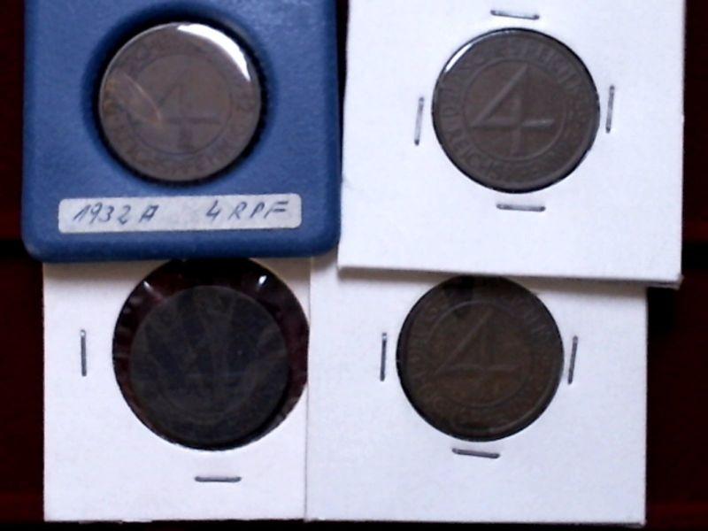 A 4 x Weimarer Republik / Brüning Taler : 4 Reichspfennig von 1932 : A, E, F + J