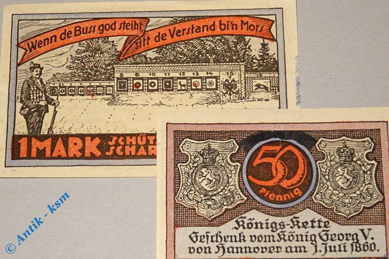 2 x Notgeld Scharmbeck , Schützenhof , 2 Scheine o. Zudruck , M/G  1172.1 , kfr
