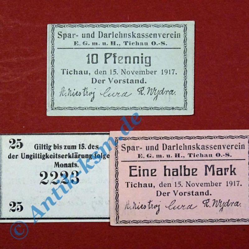 3 x Notgeld Tichau , german emergency money , Tieste 7350.25 - 27 ,  kfr./unc
