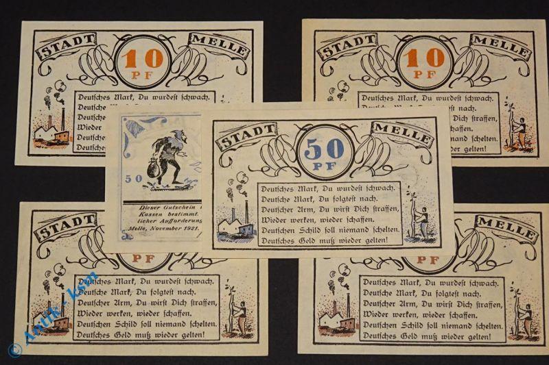 Notgeld Melle , Set mit 6 Scheinen , Mehl Grabowski 879.1 , von 1921 , kfr / unc
