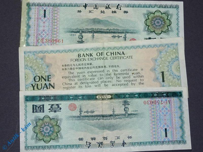 3 x Banknoten China / 3 x one Yuang , 3 x 1 Yuan Foreign Exchange Certificate