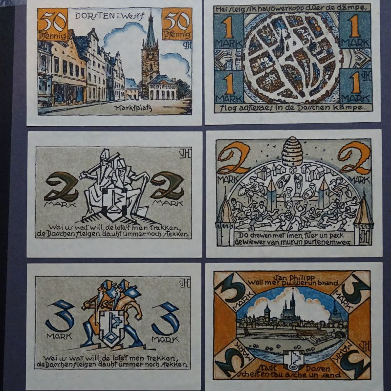 6 x Top Notgeld Dorsten , german emergency Money unc, 6 Stück kompl, kfr