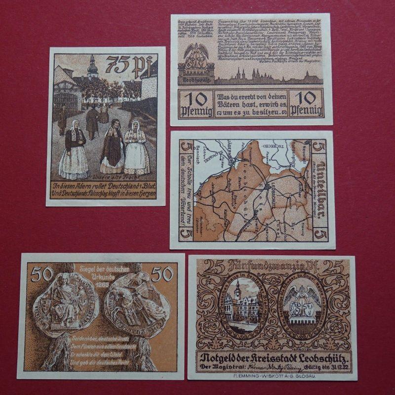 5 x Notgeld Leobschütz , PL = Glubczyce ,Satz mit 5 Scheinen , M/G 793.1 kfr/unc