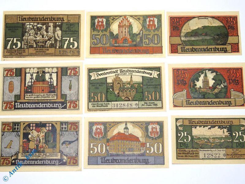 9 x Notgeld Neubrandenburg , Satz mit 9 Scheinen , M/G 935.2 in kfr/unc