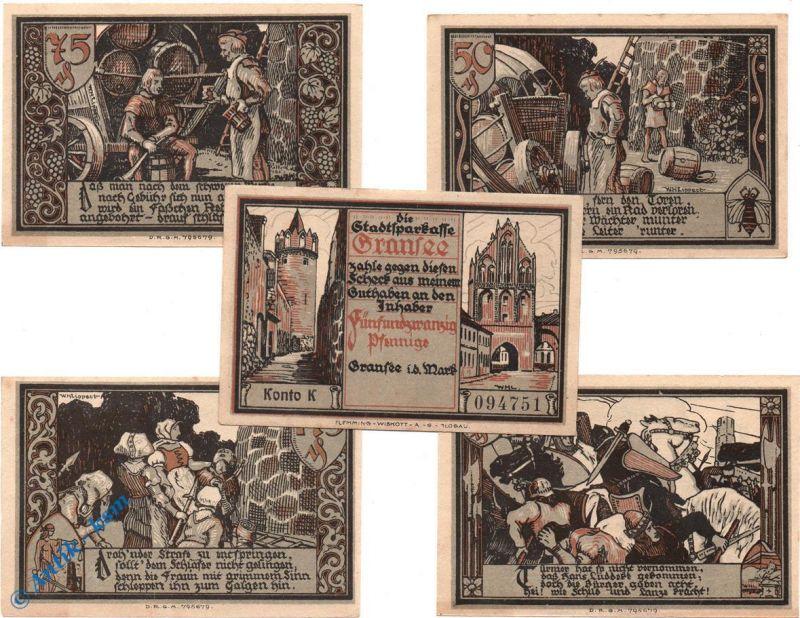 5 x Notgeld Gransee , M/G 465.1 ,  german emergency money , kfr/unc
