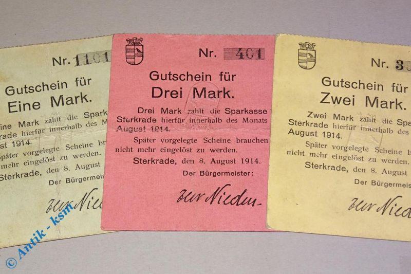 3 x Notgeld Sparkasse Sterkrade , Rheinland , 1, 2 und 3 Mark mit Prägestempel