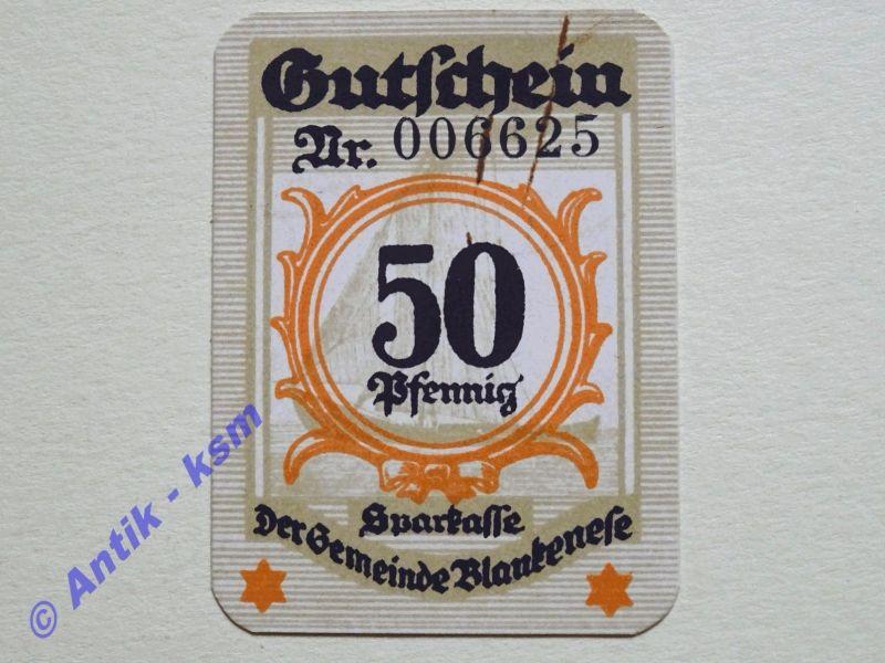 Notgeld Blankenese , Schleswig Holstein , Einzelschein über 50 Pfennig , Tieste