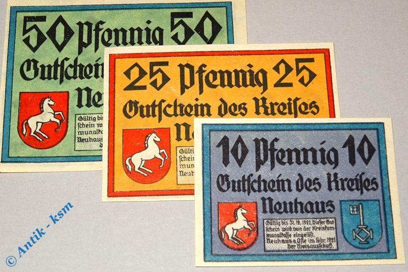 3 x Notgeld Neuhaus a. Oste ,  3 x german emergency money , M/G 947.1 , kfr/unc