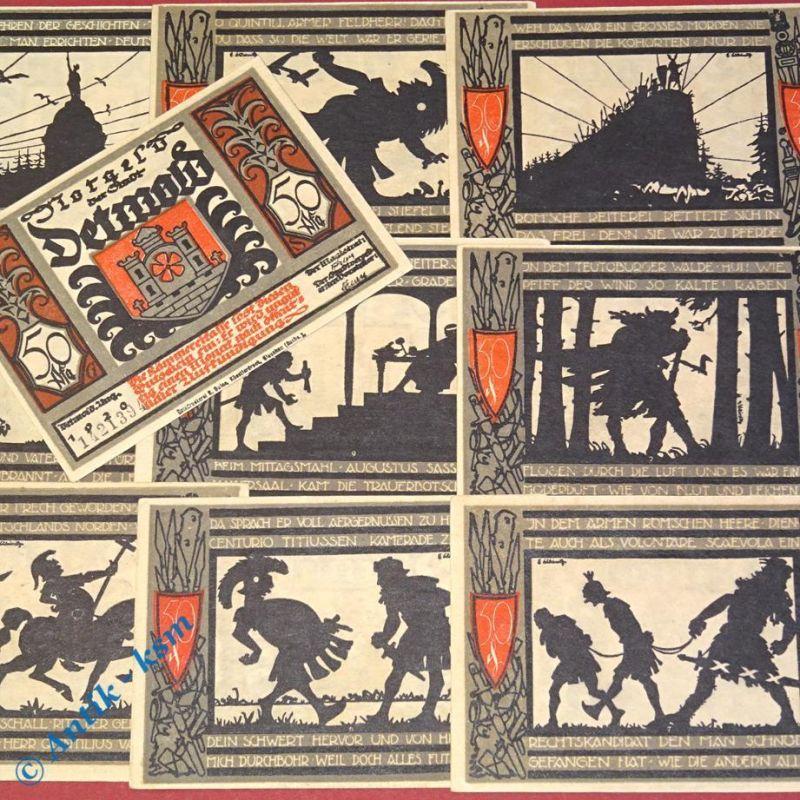 10 x Notgeld Detmold , Varus Schlacht , 10 x 50 Pfennig , M/G 268.  kfr/unc