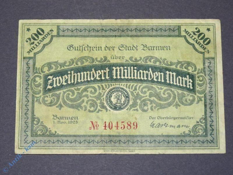 1 x Groß Notgeld Banknoten der Stadt Barmen , 200 Milliarden Mark vom 01.11.1923