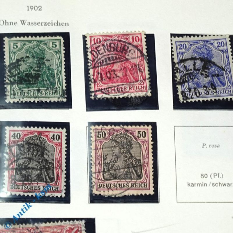 12 Briefmarken von 1902 Mi.-Nr. ? , 2 Pfennig bis 2 Mark , siehe Detailbilde 2