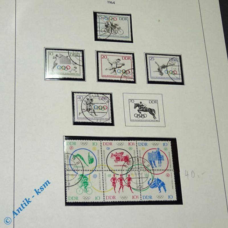 11 Briefmarken incl. Block DDR 1964 Mi.-Nr. ? , 10 bis 40 Pf , siehe Detailbilde