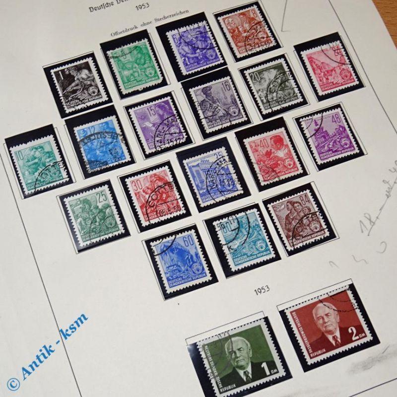20 Briefmarken DDR 1953 Mi.-Nr. ? , 1 Pfennig bis 2,00 Mark , siehe Detailbilder