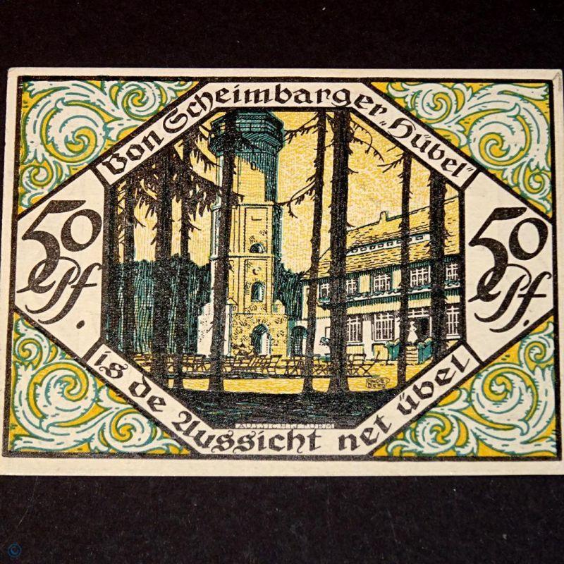 TOP Notgeld Scheibenberg ohne Kennummer , 50 Pfennig Nr 1 , M/G 1175.1 B kfr/unc
