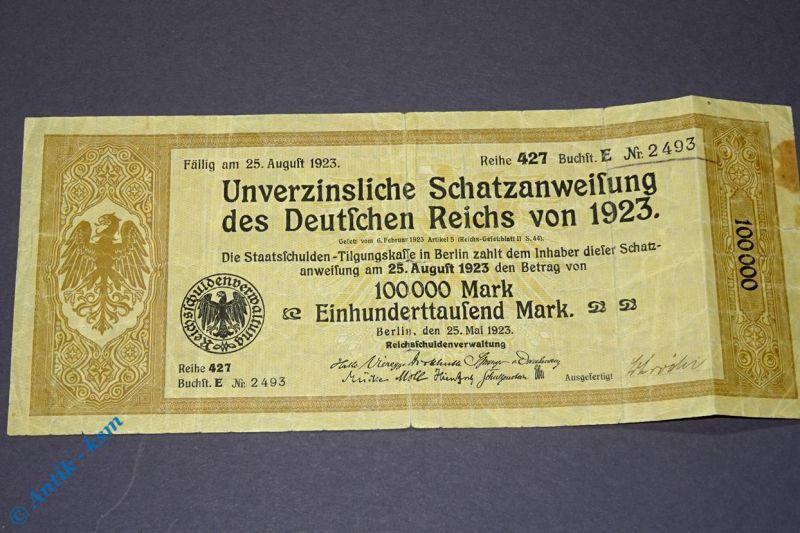 Schatzanweisung Deutsches Reich 100 000 Mark 1923 , Reihe 427 E , Treasury Bill