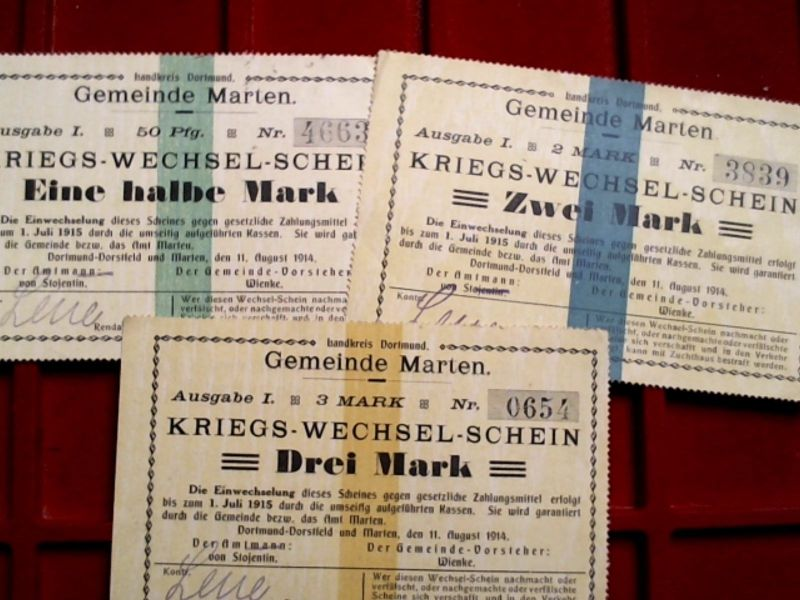 A 3 x TOP-Notgeld : 1/2, 2 & 3 Mark, Gemeinde MARTEN , Dortmund-Dorstfeld.-RAR-