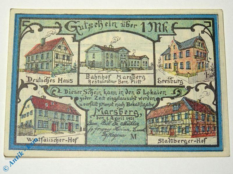 Notgeld Marsberg , Hotel deutsches Haus , 1 Mark Schein , M/G 874.1 a , kfr