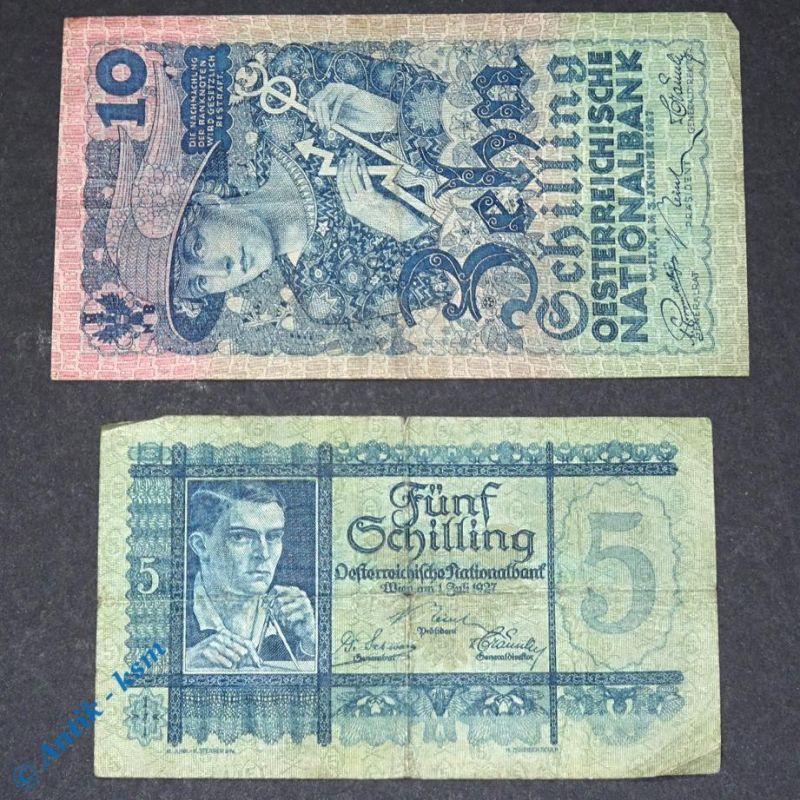 2 Banknoten Österreich , 5 und 10 Schilling beide von 1927 , Zwischenkriegszeit