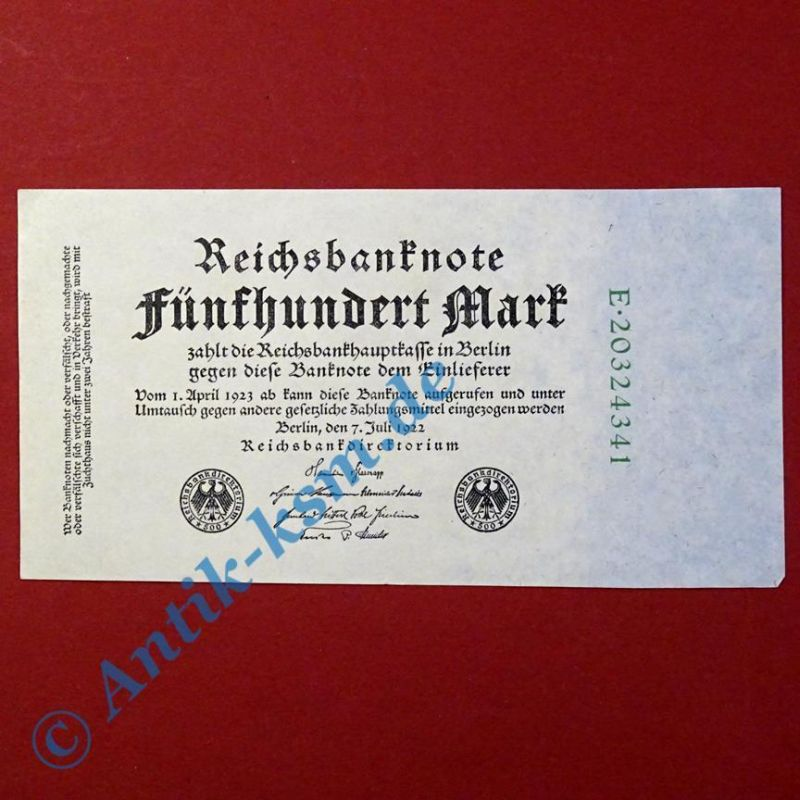Top Banknote : Ros 71 C : 500 Mark vom 07.07.1922 in --> kassenfrisch / unc <--